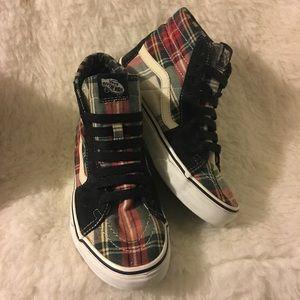 713a38d756be Vans Shoes - VANS Sk8 Hi plaid hi tops